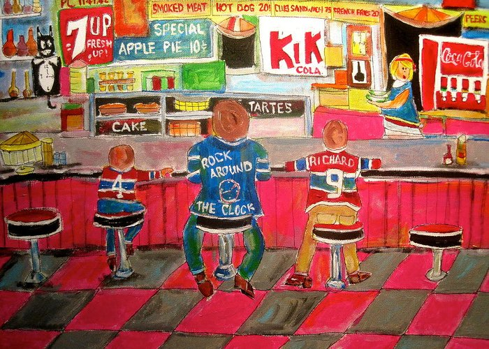 1950's Snack Bar Greeting Card featuring the painting Montreal Tradition by Michael Litvack