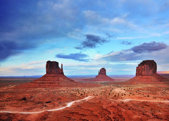 Tranquility Greeting Card featuring the photograph Monument Valley Cool Light After Sunset by Utah-based Photographer Ryan Houston