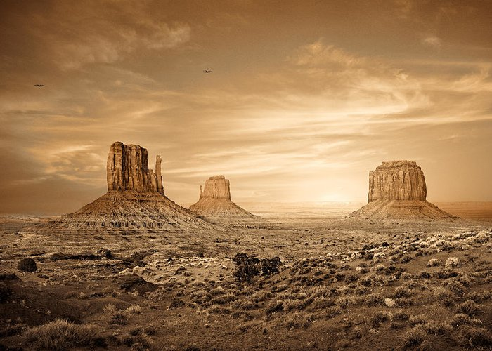 Monument Greeting Card featuring the photograph Monument Valley Golden Sunset by Susan Schmitz