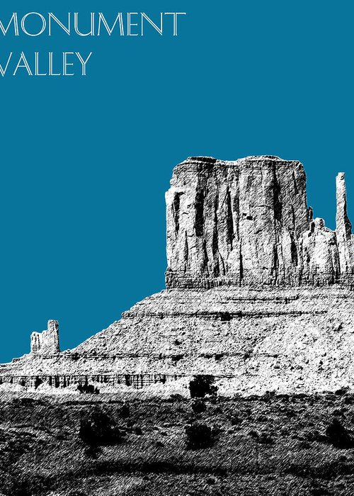 Pen And Ink Greeting Card featuring the digital art Monument Valley - Steel by DB Artist