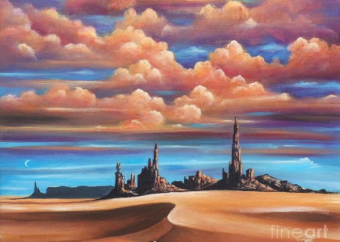 Acrylics Greeting Card featuring the painting Monument Valley by - Artificium -