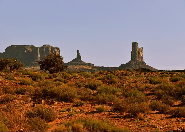 Monument Valley Greeting Card featuring the photograph Monument Valley - Unusual Landscape by Christine Till