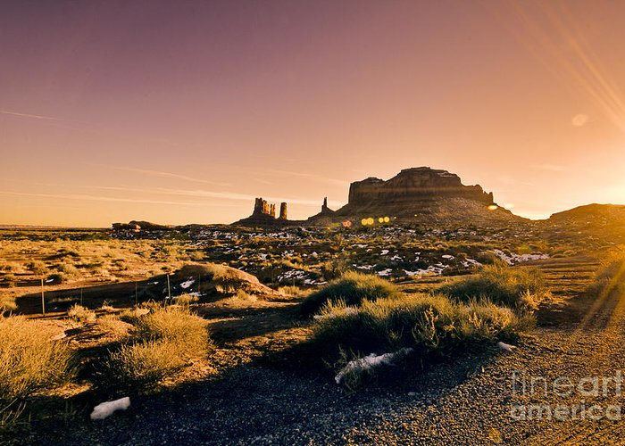 Monument Valley Greeting Card featuring the photograph Monument Valley -utah V7 by Douglas Barnard