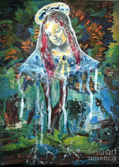 Mary Greeting Card featuring the painting Monumental Tree Goddess by Genevieve Esson