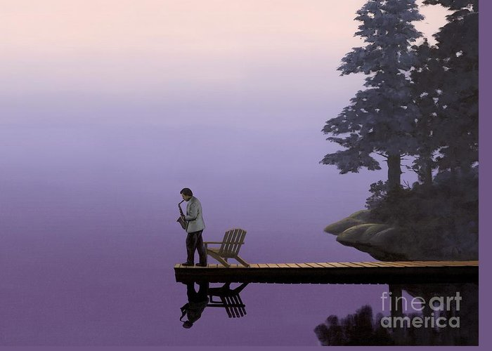 Purle Greeting Card featuring the painting Mood Indigo by Michael Swanson