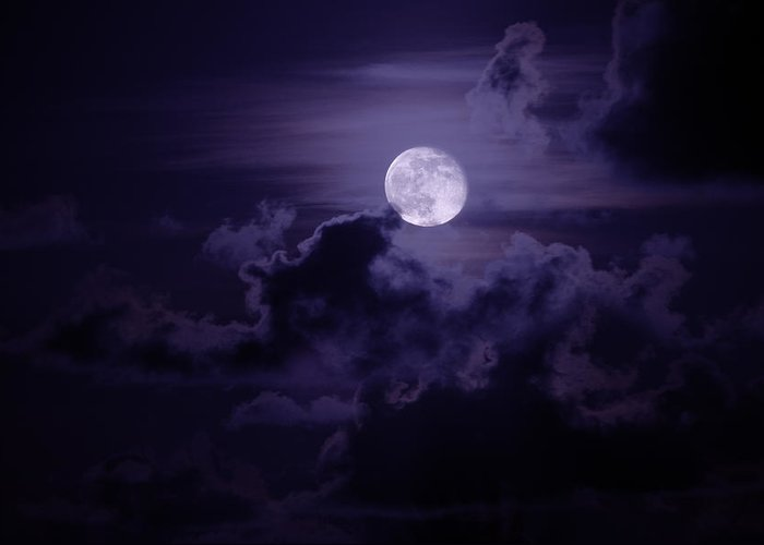 Nature Greeting Card featuring the photograph Moody Moon by Chad Dutson