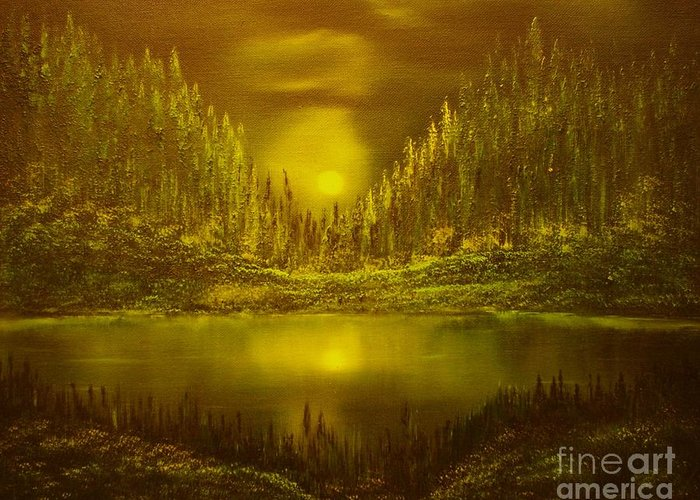 Evening Moonlight Greeting Card featuring the painting Moon Lake Reflection-original Sold- Buy Giclee Print Nr 33 Of Limited Edition Of 40 Prints by Eddie Michael Beck
