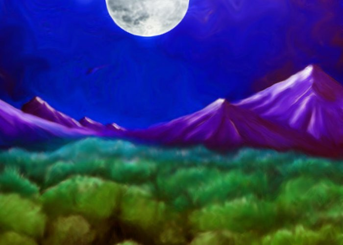 Moon Greeting Card featuring the painting Moon Mountain by Karen R Scoville