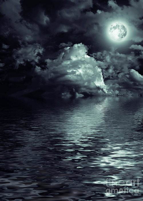 Moon Mysterious Greeting Card featuring the photograph Moon Mysterious by Boon Mee