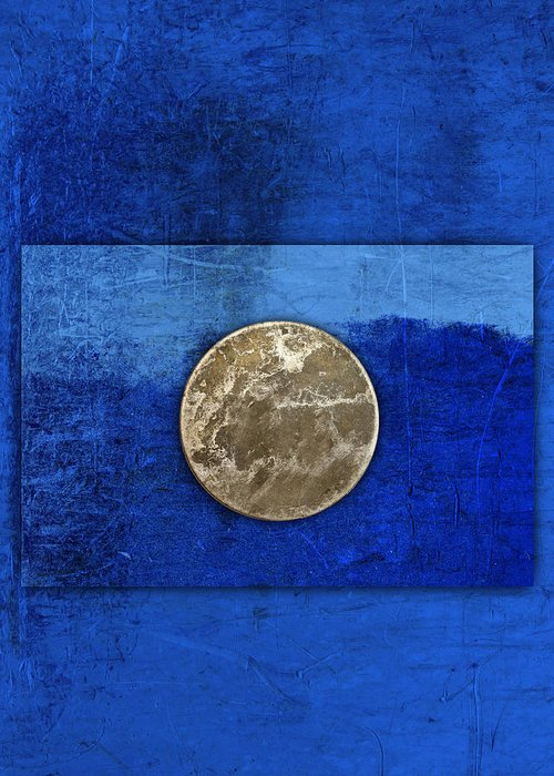 Moon Greeting Card featuring the photograph Moon On Blue by Carol Leigh