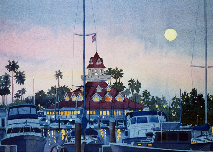 Boat Greeting Card featuring the painting Moon Over Coronado Boathouse by Mary Helmreich