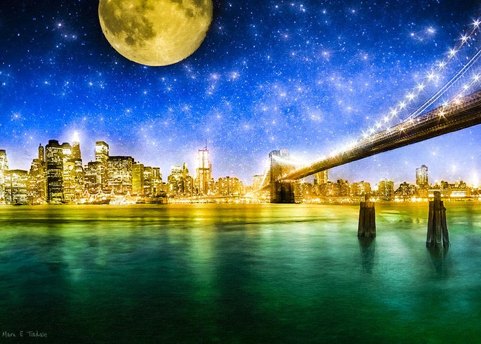 New York Greeting Card featuring the photograph Moon Over Manhattan by Mark E Tisdale