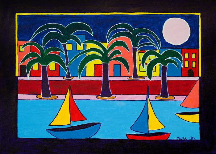 Moon Over Miami Greeting Card featuring the painting Moon Over Miami by Marlene MALKA Harris