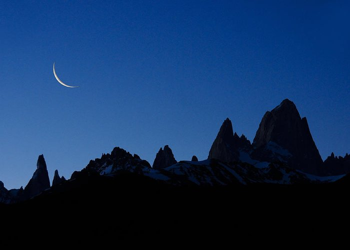 Argentina Greeting Card featuring the photograph Moon over Mount Fitz Roy by Michele Burgess