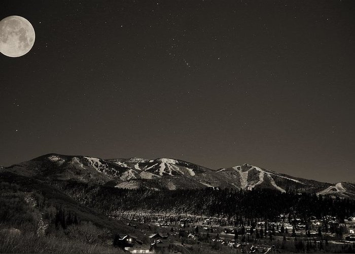Steamboat Springs Greeting Card featuring the photograph Moon Over Mt. Werner by Matt Helm