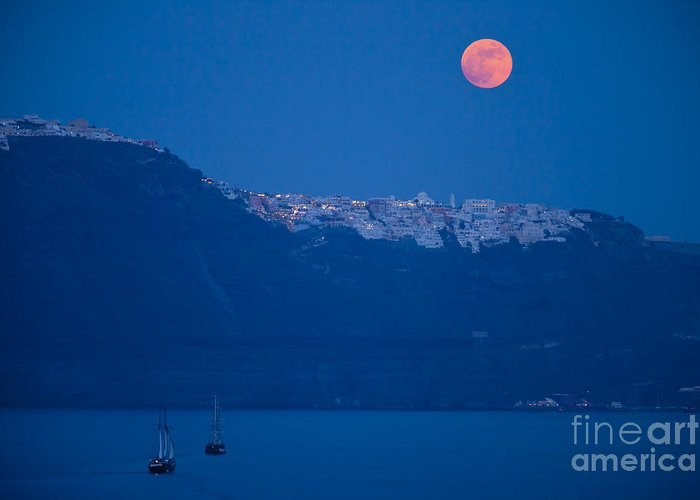 Santorini Greeting Card featuring the photograph Moon Over Santorini by Brian Jannsen