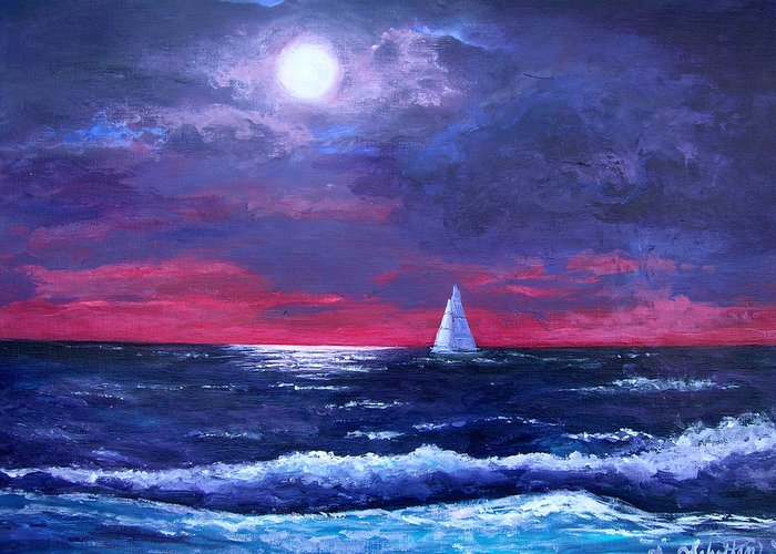 Moon Greeting Card featuring the painting Moon Over Sunset Harbor by Amy Scholten