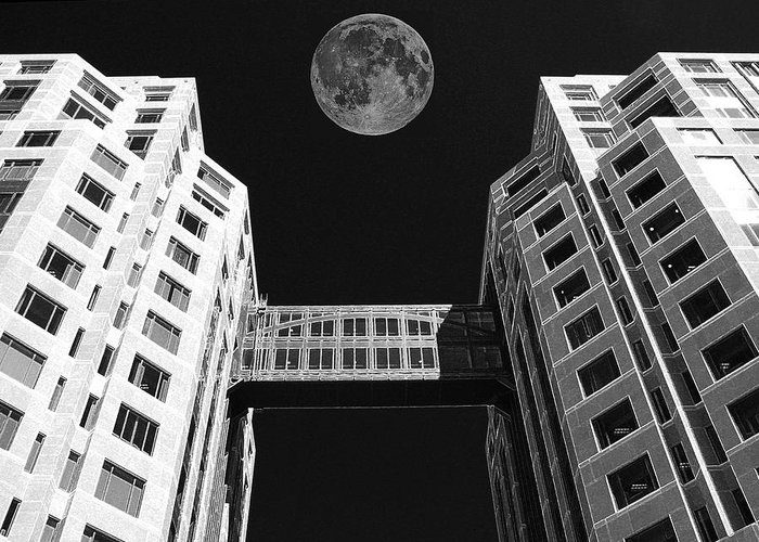 Moon Over Twin Towers Greeting Card featuring the photograph Moon Over Twin Towers by Samuel Sheats
