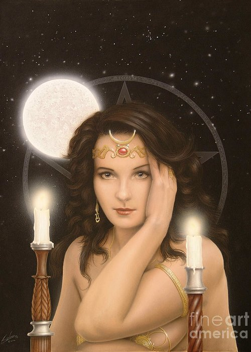 Paintings Greeting Card featuring the painting Moon Priestess by John Silver