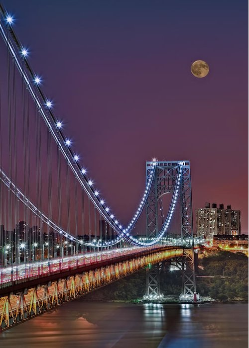 Full Moons Greeting Card featuring the photograph Moon Rise Over The George Washington Bridge by Susan Candelario