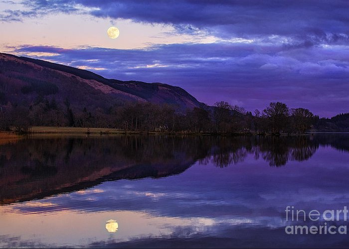 Loch Greeting Card featuring the photograph Moon Rising Over Loch Ard by John Farnan