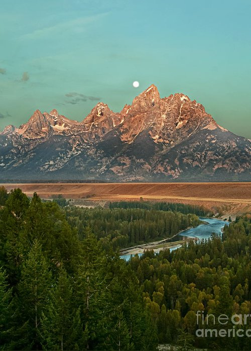 Grand Teton Greeting Card featuring the photograph Moon Setting by Robert Bales