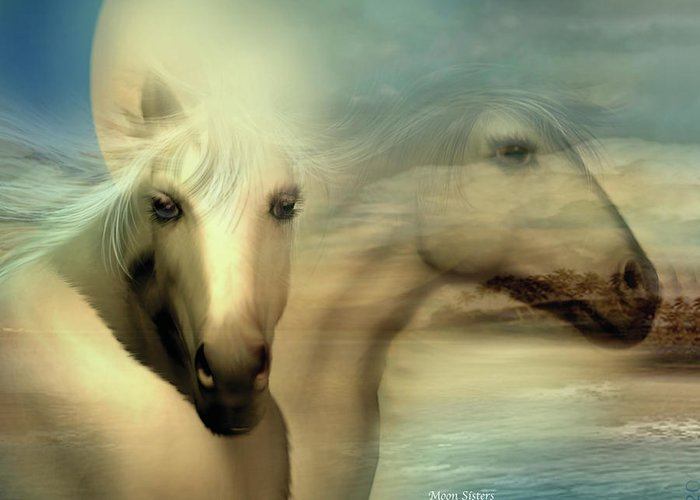 Horse Greeting Card featuring the mixed media Moon Sisters by Carol Cavalaris