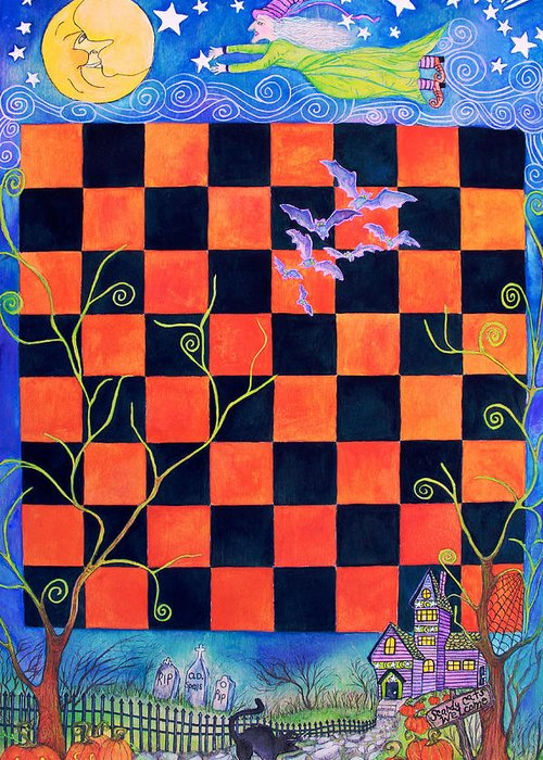 Halloween Greeting Card featuring the painting Flight Of The Moon Witch Checkerboard by Janet Immordino