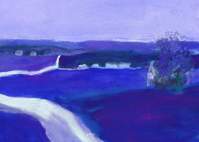Landscapes Greeting Card featuring the painting Moonlight In The Country by J Reifsnyder