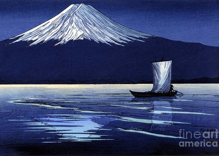 U.s.pd Greeting Card featuring the painting Moonlight On Fujiyama by Pg Reproductions
