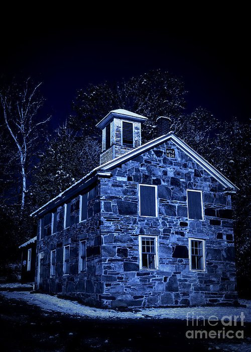 Night Greeting Card featuring the photograph Moonlight On The Old Stone Building by Edward Fielding