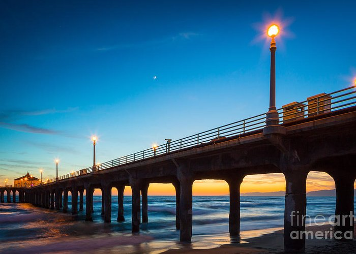 America Greeting Card featuring the photograph Moonlight Pier by Inge Johnsson