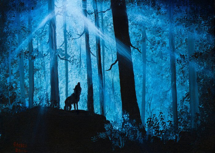 Landscape Greeting Card featuring the painting Moonlight Serenade by Chris Steele