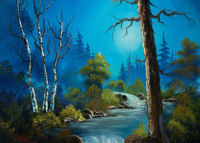 Landscape Greeting Card featuring the painting Moonlight Stream by C Steele
