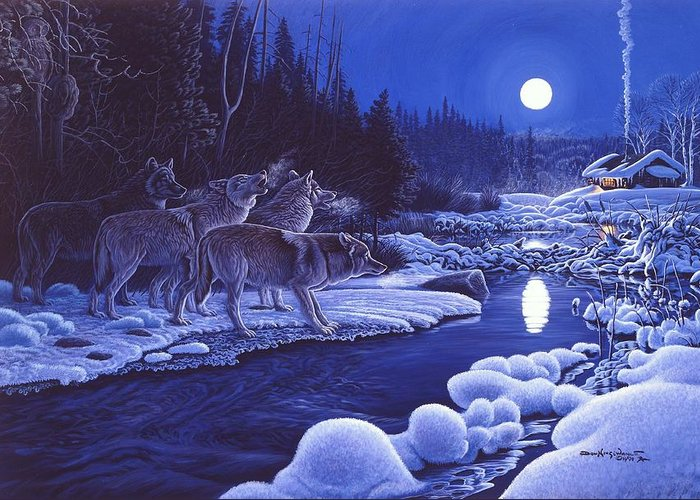 Wolf Pack Greeting Card featuring the painting Moonlight Visitors by Don Ningewance