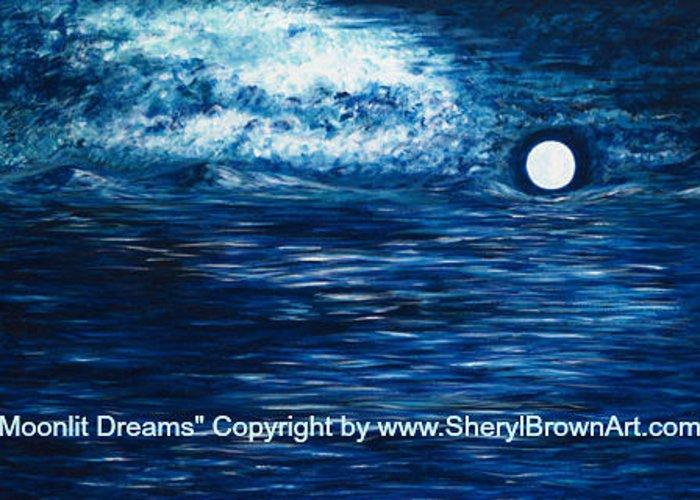 Moonlit Dreams Greeting Card featuring the painting Moonlit Dreams by Sheryl Brown
