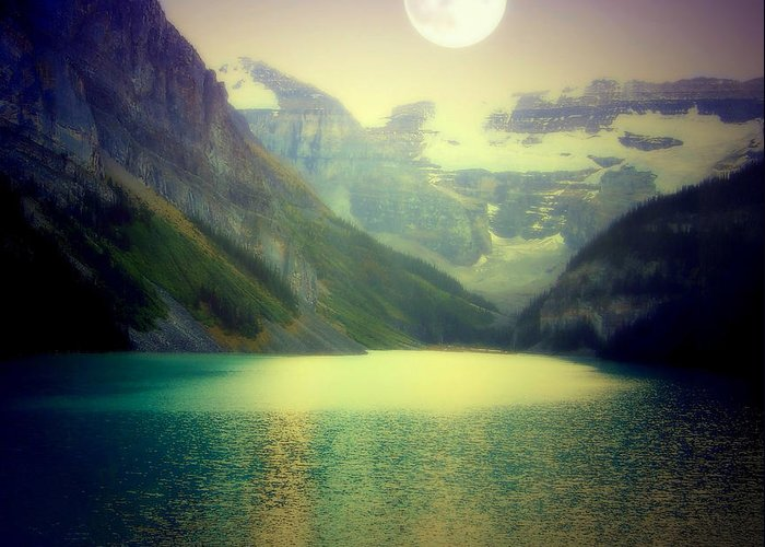 Lake Louise Greeting Card featuring the photograph Moonlit Encounter by Karen Wiles