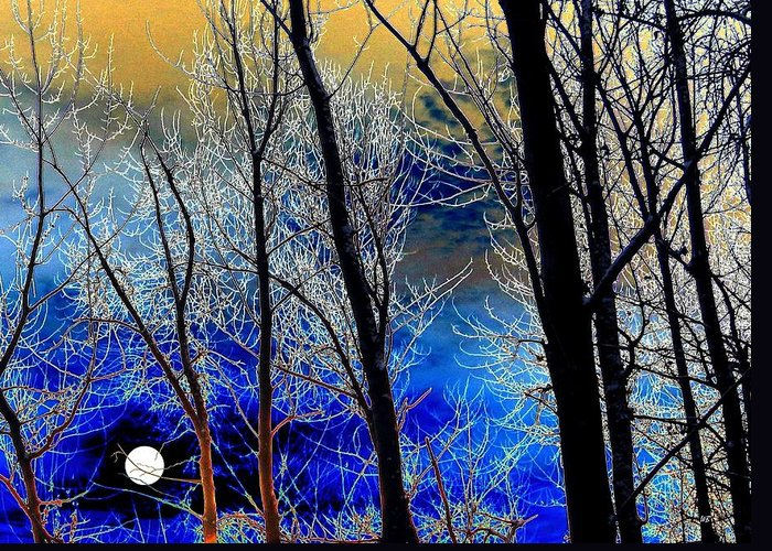 Full Moon Greeting Card featuring the digital art Moonlit Frosty Limbs by Will Borden