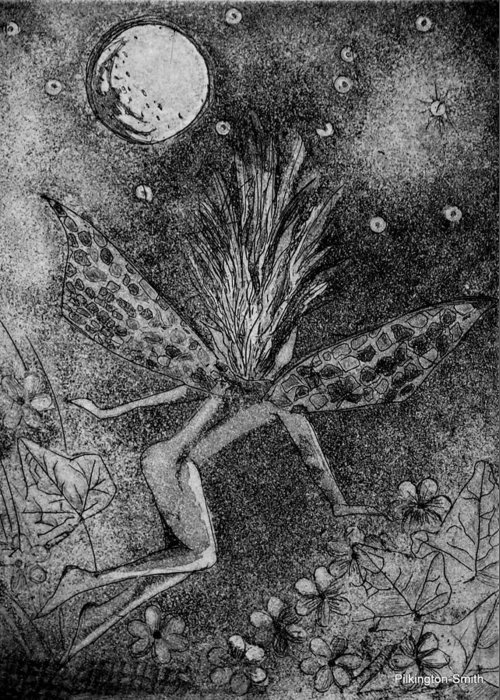 Fairy Greeting Card featuring the relief Moonlit Path by Stacey Pilkington-Smith