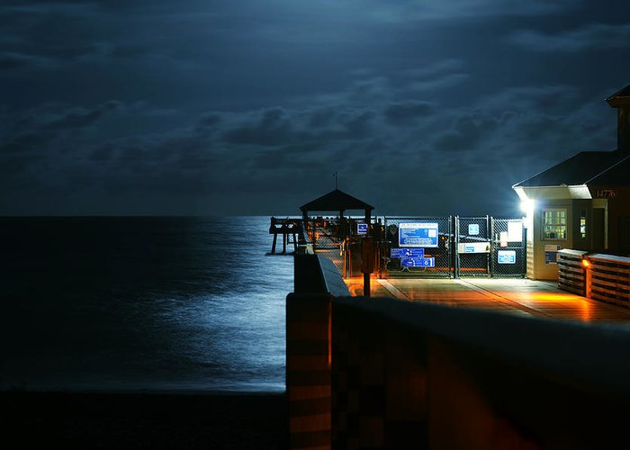 Laura Fasulo Greeting Card featuring the photograph Moonlit Pier by Laura Fasulo