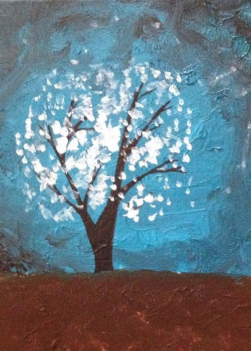 Tree Greeting Card featuring the painting Moonlit Tree by Sarah Brenner