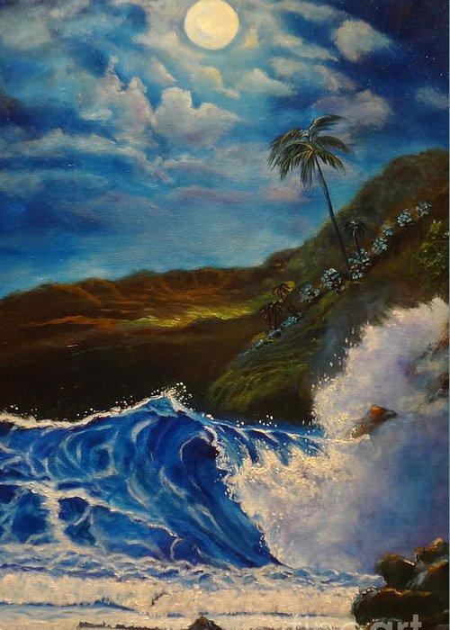 Giant Wave Greeting Card featuring the painting Moonlit Wave 11 by Jenny Lee