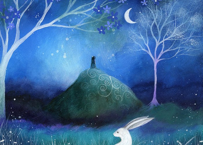 Landscape Greeting Card featuring the painting Moonlite And Hare by Amanda Clark