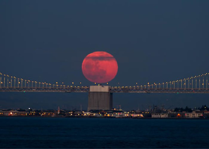 Moonrise Bay Bridge Fort Baker Red Moon Greeting Card featuring the photograph Moonrise Bay Bridge Fort Baker by David Yu