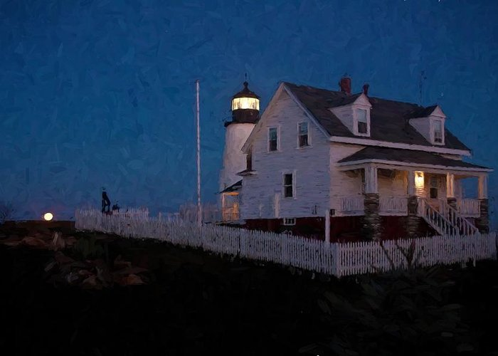 Maine Greeting Card featuring the photograph Moonrise Behind Pemaquid Point Light by Frank Tozier