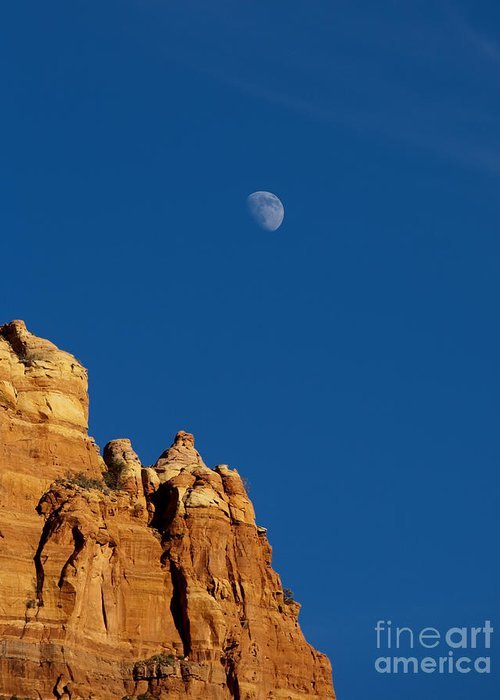 Moon Greeting Card featuring the photograph Moonrise Over Sandstone by Mike Dawson