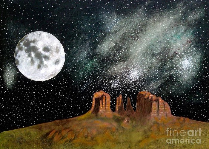 John Lyes Greeting Card featuring the painting Moonrise Over Sedona by John Lyes