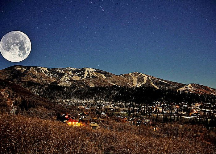 Steamboat Springs Greeting Card featuring the photograph Moonrise Over Steamboat by Matt Helm