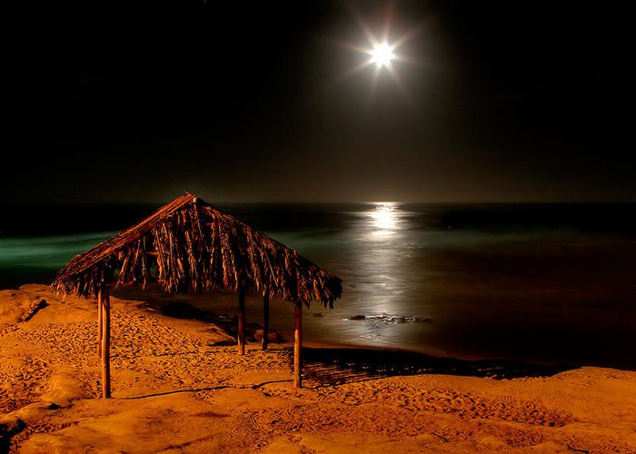 Moon Greeting Card featuring the photograph Moonset Over Windnsea by Peter Tellone