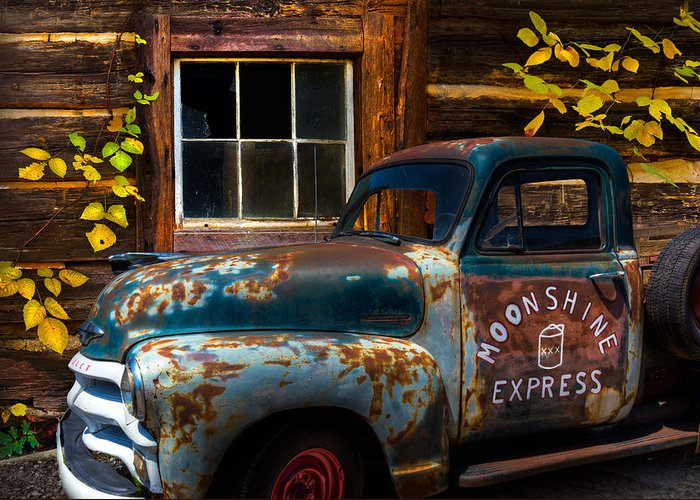 1950s Greeting Card featuring the photograph Moonshine Express by Debra and Dave Vanderlaan